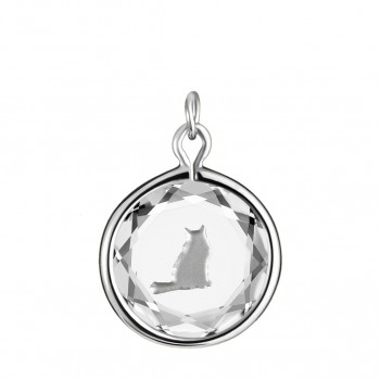 Pets Charm: Tabby in White Crystal & Metallic Enameled Engraving