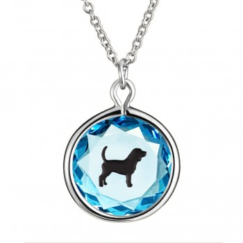Pets Pendant: Beagle in Blue Crystal & Black Enameled Engraving