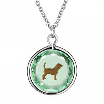 Pets Pendant: Beagle in Green Crystal & Brown Enameled Engraving