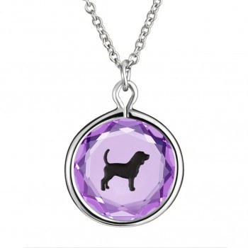 Pets Pendant: Beagle in Purple Crystal & Black Enameled Engraving