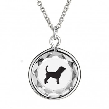 Pets Pendant: Beagle in White Crystal & Black Enameled Engraving