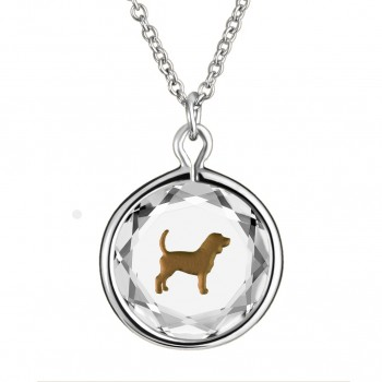 Pets Pendant: Beagle in White Crystal & Brown Enameled Engraving