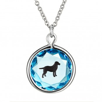 Pets Pendant: Labrador in Blue Crystal & Black Enameled Engraving