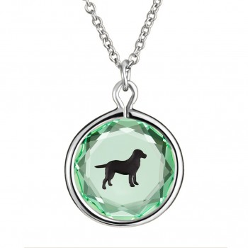 Pets Pendant: Labrador in Green Crystal & Black Enameled Engraving