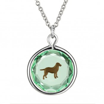 Pets Pendant: Labrador in Green Crystal & Brown Enameled Engraving