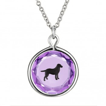 Pets Pendant: Labrador in Purple Crystal & Black Enameled Engraving