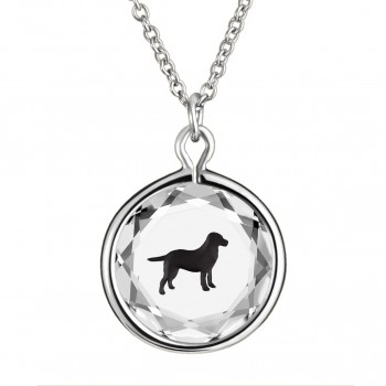Pets Pendant: Labrador in White Crystal & Black Enameled Engraving