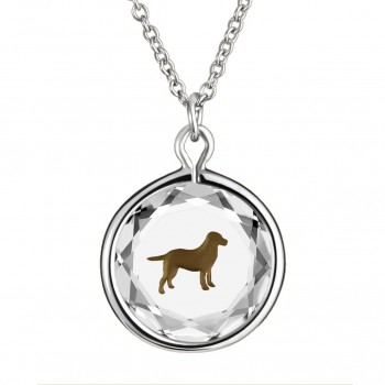 Pets Pendant: Labrador in White Crystal & Brown Enameled Engraving