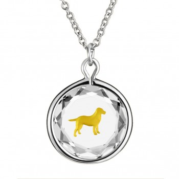 Pets Pendant: Labrador in White Crystal & Gold Enameled Engraving