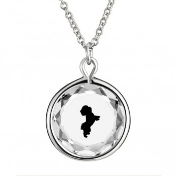 Pets Pendant: Maltese in White Crystal & Black Enameled Engraving