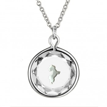 Pets Pendant: Maltese in White Crystal & White Enameled Engraving