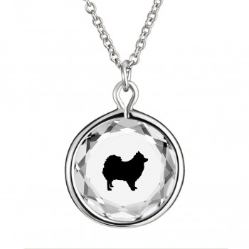Pets Pendant: Pomeranian in White Crystal & Black Enameled Engraving
