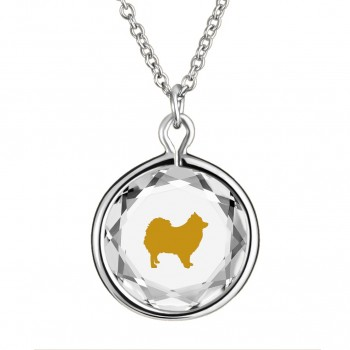 Pets Pendant: Pomeranian in White Crystal & Gold Enameled Engraving