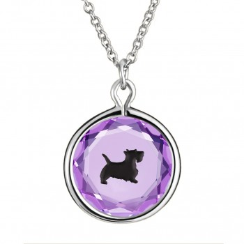 Pets Pendant: Scottie in Purple Crystal & Black Enameled Engraving