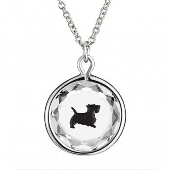 Pets Pendant: Scottie in White Crystal & Black Enameled Engraving