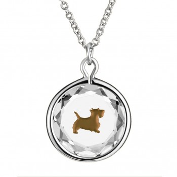 Pets Pendant: Scottie in White Crystal & Brown Enameled Engraving