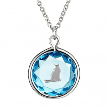 Pets Pendant: Tabby in Blue Crystal & Metallic Enameled Engraving