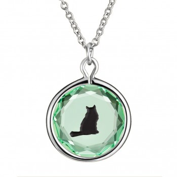 Pets Pendant: Tabby in Green Crystal & Black Enameled Engraving
