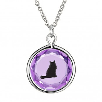Pets Pendant: Tabby in Purple Crystal & Black Enameled Engraving