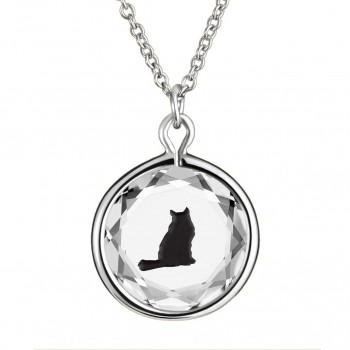 Pets Pendant: Tabby in White Crystal & Black Enameled Engraving