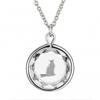 Pets Pendant: Tabby in White Crystal & Metallic Enameled Engraving