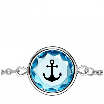 Popular Symbols Bracelet: Anchor in Blue Crystal & Black Enameled Engraving