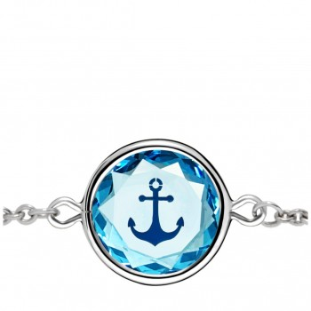Popular Symbols Bracelet: Anchor in Blue Crystal & Dark Blue Enameled Engraving