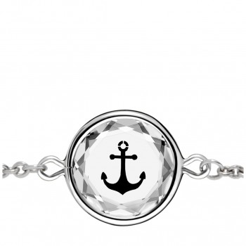 Popular Symbols Bracelet: Anchor in White Crystal & Black Enameled Engraving