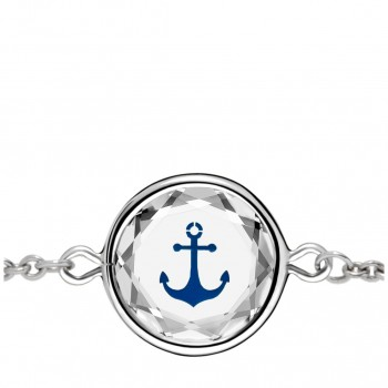 Popular Symbols Bracelet: Anchor in White Crystal & Dark Blue Enameled Engraving