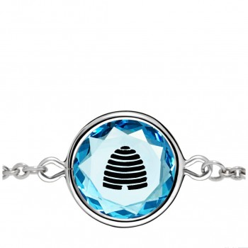 Popular Symbols Bracelet: Beehive-Utah in Blue Crystal & Black Enameled Engraving