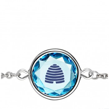 Popular Symbols Bracelet: Beehive-Utah in Blue Crystal & Dark Blue Enameled Engraving