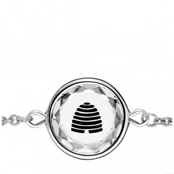 Popular Symbols Bracelet: Beehive-Utah in White Crystal & Black Enameled Engraving