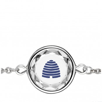 Popular Symbols Bracelet: Beehive-Utah in White Crystal & Dark Blue Enameled Engraving