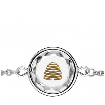 Popular Symbols Bracelet: Beehive-Utah in White Crystal & Gold Enameled Engraving