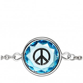 Popular Symbols Bracelet: Peace Sign in Blue Crystal & Black Enameled Engraving