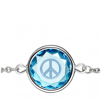 Popular Symbols Bracelet: Peace Sign in Blue Crystal & Metallic Enameled Engraving