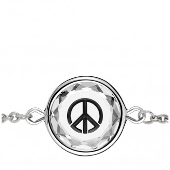 Popular Symbols Bracelet: Peace Sign in White Crystal & Black Enameled Engraving
