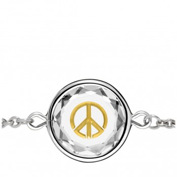 Popular Symbols Bracelet: Peace Sign in White Crystal & Gold Enameled Engraving