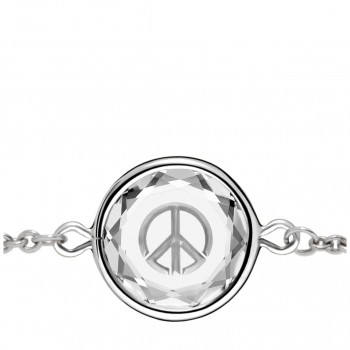 Popular Symbols Bracelet: Peace Sign in White Crystal & Metallic Enameled Engraving
