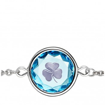 Popular Symbols Bracelet: Shamrock in Blue Crystal & Metallic Enameled Engraving