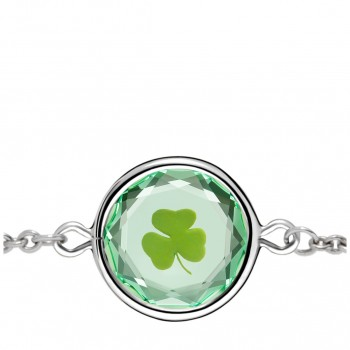 Popular Symbols Bracelet: Shamrock in Green Crystal & Green Enameled Engraving