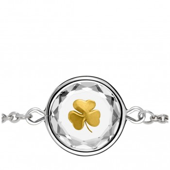 Popular Symbols Bracelet: Shamrock in White Crystal & Gold Enameled Engraving