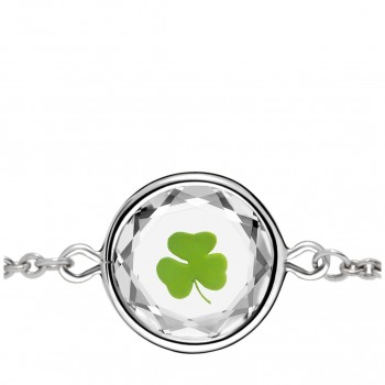 Popular Symbols Bracelet: Shamrock in White Crystal & Green Enameled Engraving