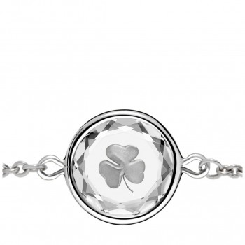 Popular Symbols Bracelet: Shamrock in White Crystal & Metallic Enameled Engraving