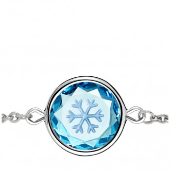 Popular Symbols Bracelet: Snowflake in Blue Crystal & Metallic Enameled Engraving