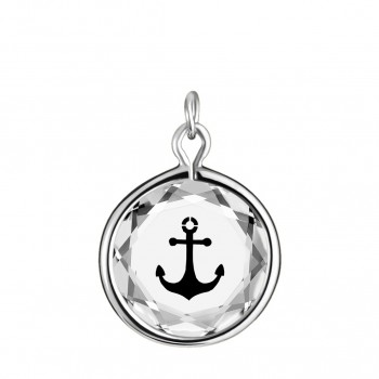 Popular Symbols Charm: Anchor in White Crystal & Black Enameled Engraving