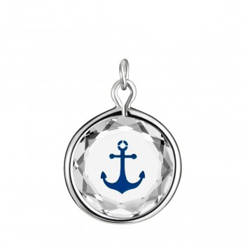 Popular Symbols Charm: Anchor in White Crystal & Dark Blue Enameled Engraving