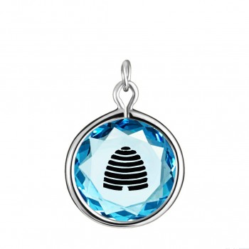 Popular Symbols Charm: Beehive-Utah in Blue Crystal & Black Enameled Engraving