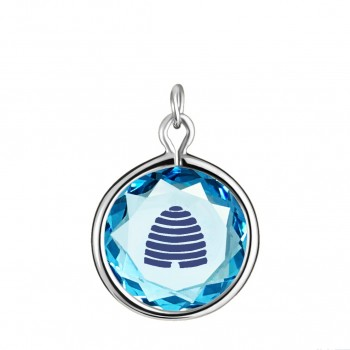 Popular Symbols Charm: Beehive-Utah in Blue Crystal & Dark Blue Enameled Engraving