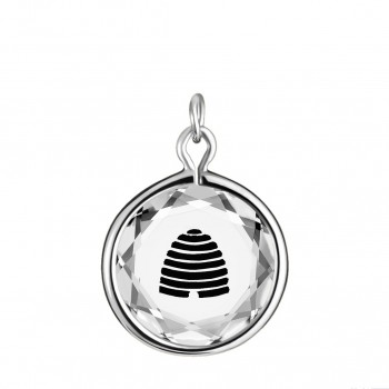 Popular Symbols Charm: Beehive-Utah in White Crystal & Black Enameled Engraving